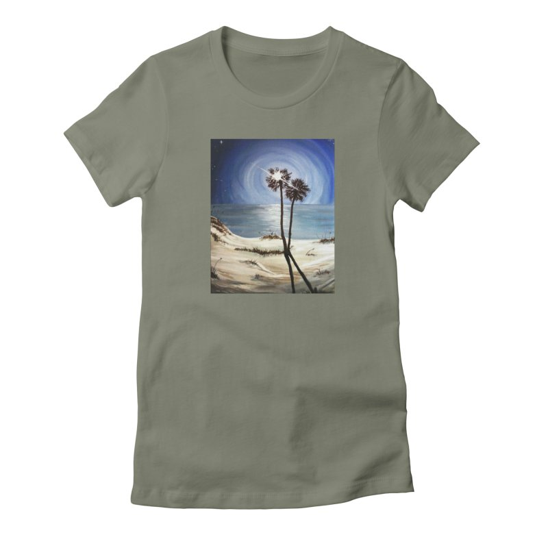 two trees in the moonlight Women's Fitted T-Shirt by joe's shop
