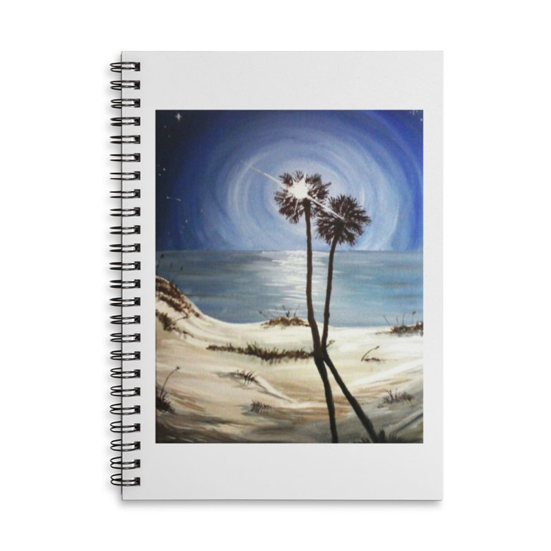 two trees in the moonlight Accessories Lined Spiral Notebook by joe's shop