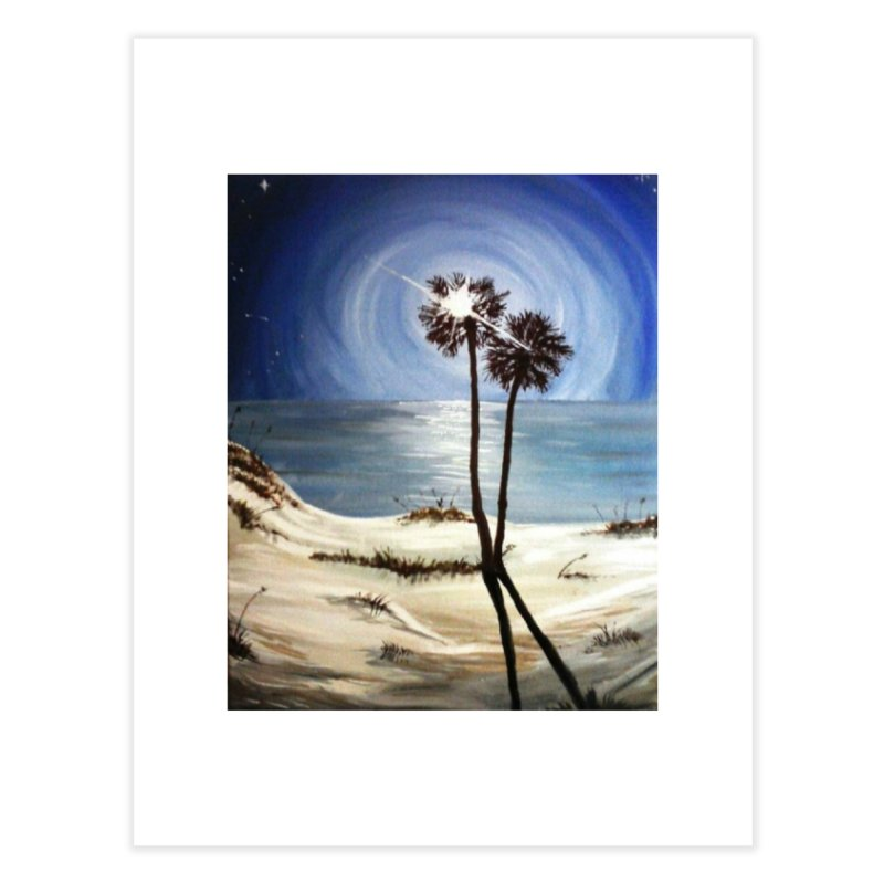 two trees in the moonlight Home Fine Art Print by joe's shop