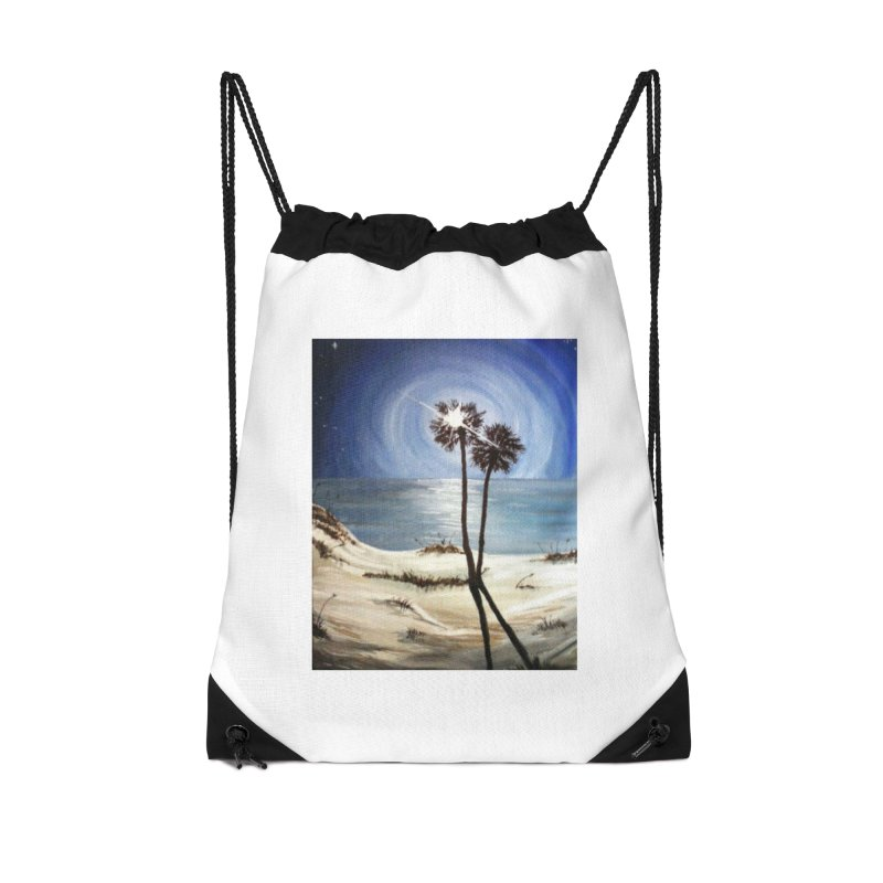 two trees in the moonlight Accessories Drawstring Bag Bag by joe's shop