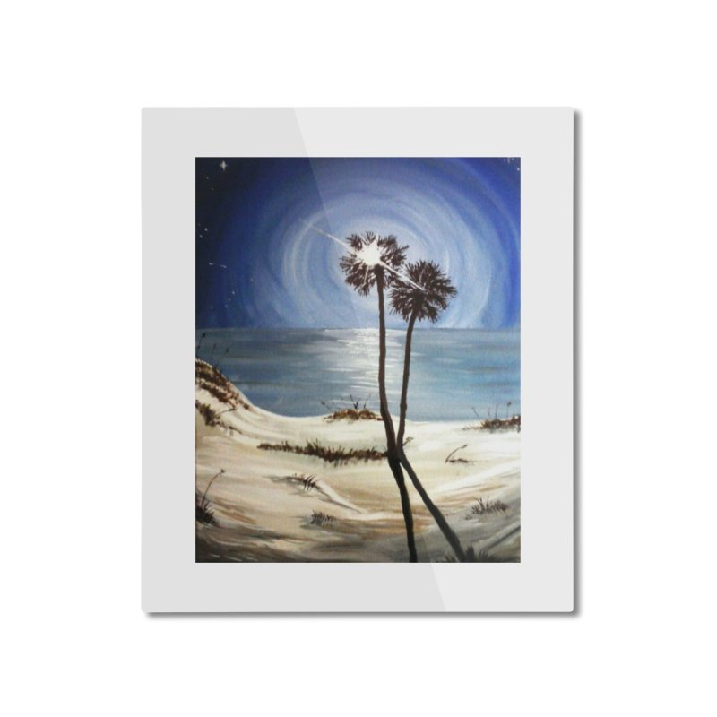two trees in the moonlight Home Mounted Aluminum Print by joe's shop