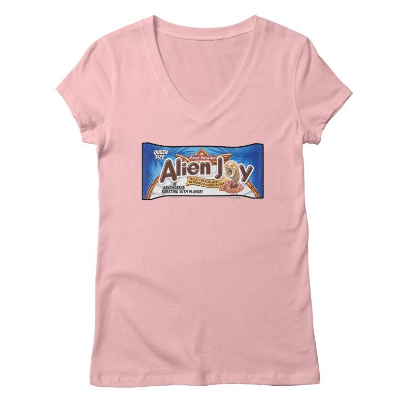 ALIEN JOY Candy Bar - Bursting with Flavor! Women's Regular V-Neck by joegparotee's Artist Shop
