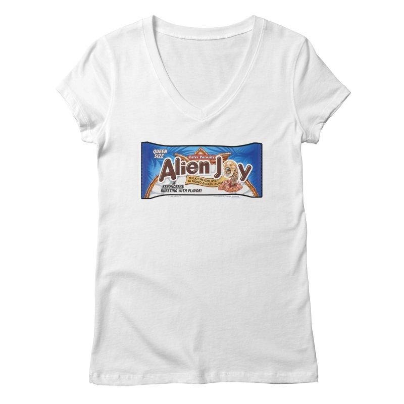 ALIEN JOY Candy Bar - Bursting with Flavor! Women's V-Neck by joegparotee's Artist Shop