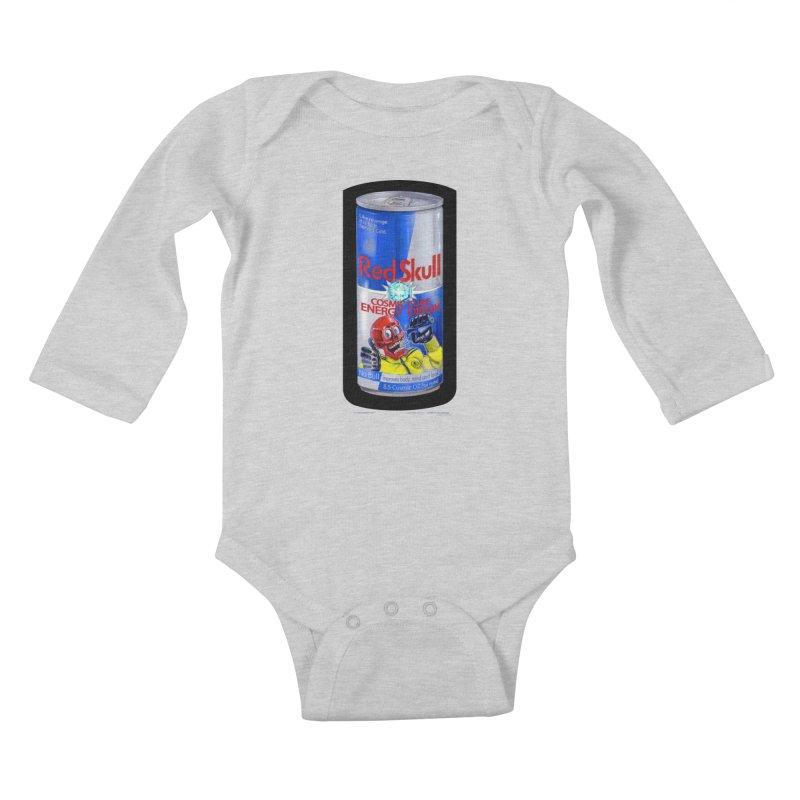 RED SKULL Cosmic Cube Energy Drink - No Bull! Kids Baby Longsleeve Bodysuit by joegparotee's Artist Shop