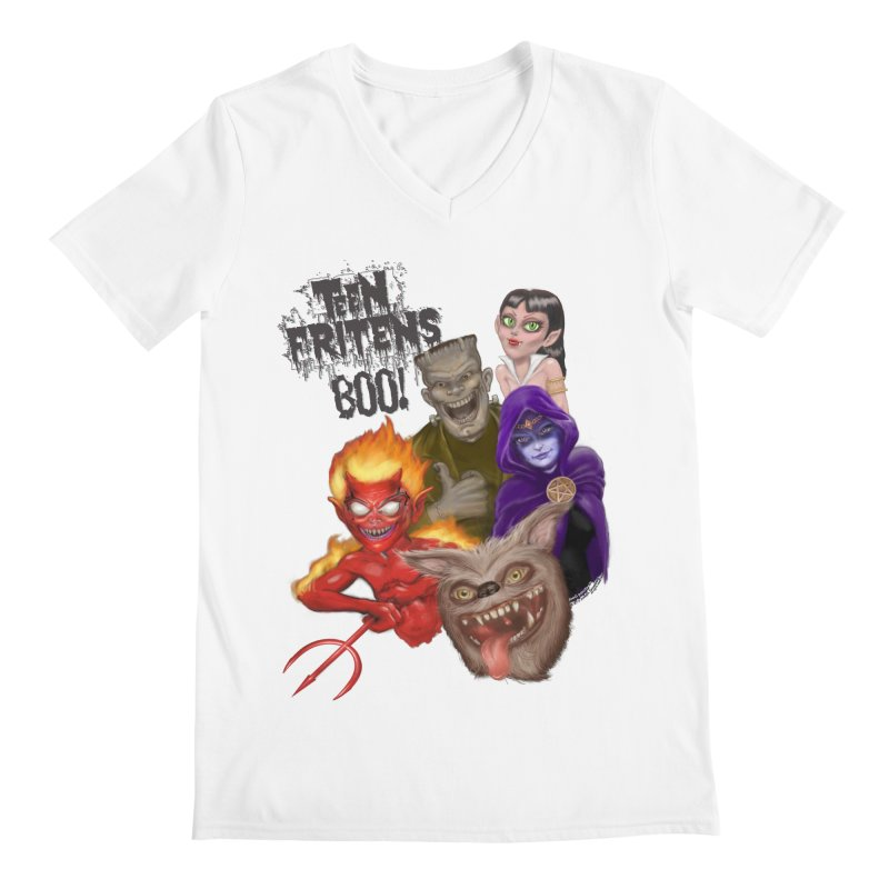 Teen Fritens BOO! Men's Regular V-Neck by joegparotee's Artist Shop