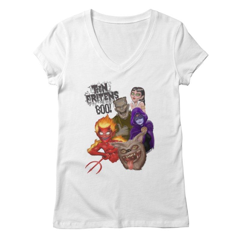 Teen Fritens BOO! Women's V-Neck by joegparotee's Artist Shop