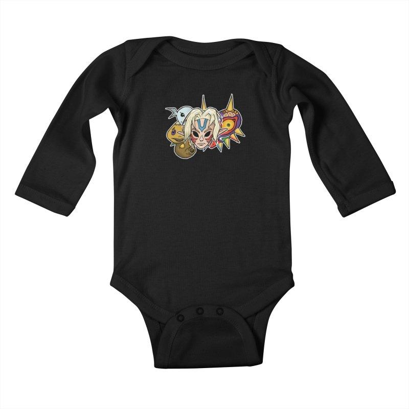 The Major Masks Kids Baby Longsleeve Bodysuit by Joel Siegel's Artist Shop