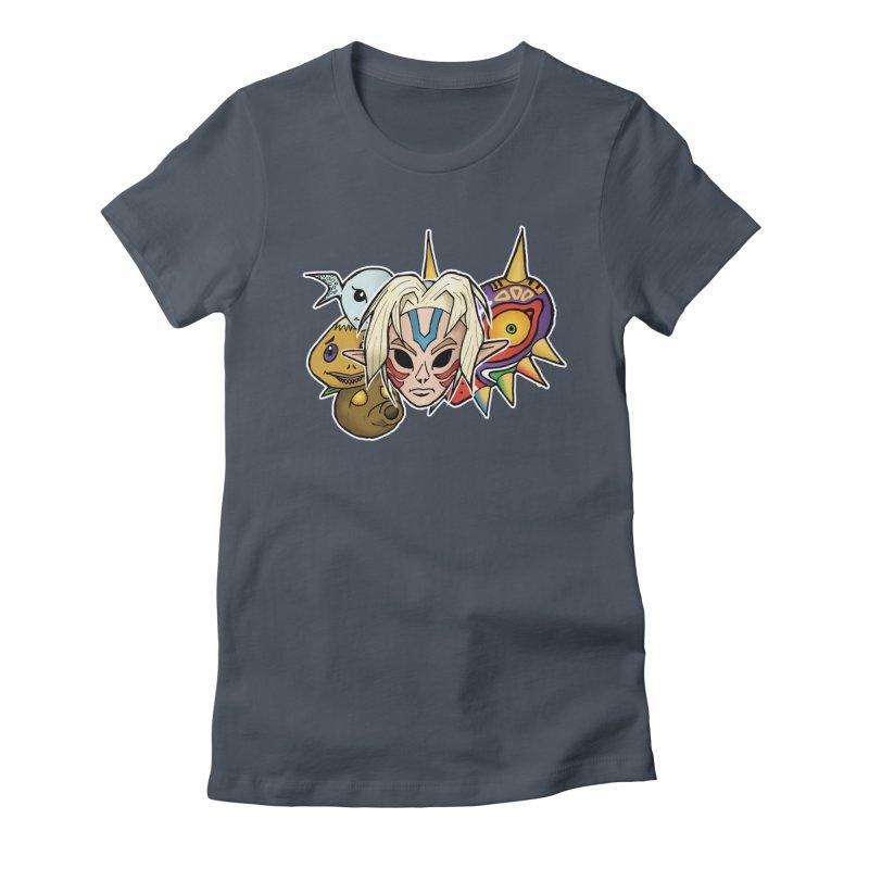 The Major Masks Women's Fitted T-Shirt by Joel Siegel's Artist Shop
