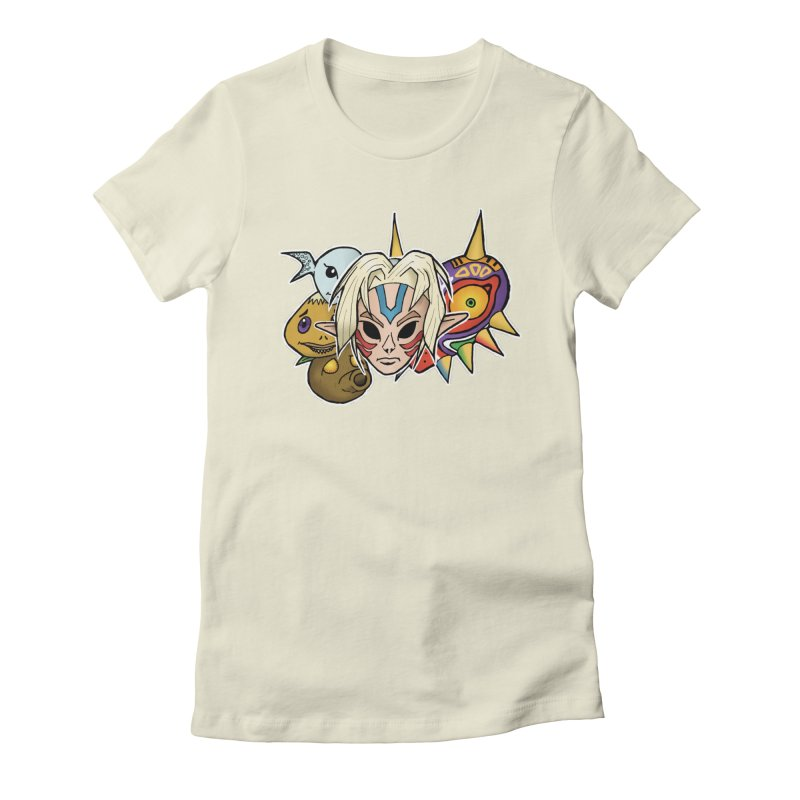 The Major Masks Women's Fitted T-Shirt by Joel Siegel's Artist Shop