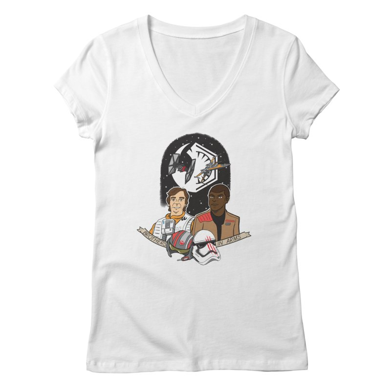 Brothers in Arms Women's Regular V-Neck by Joel Siegel's Artist Shop