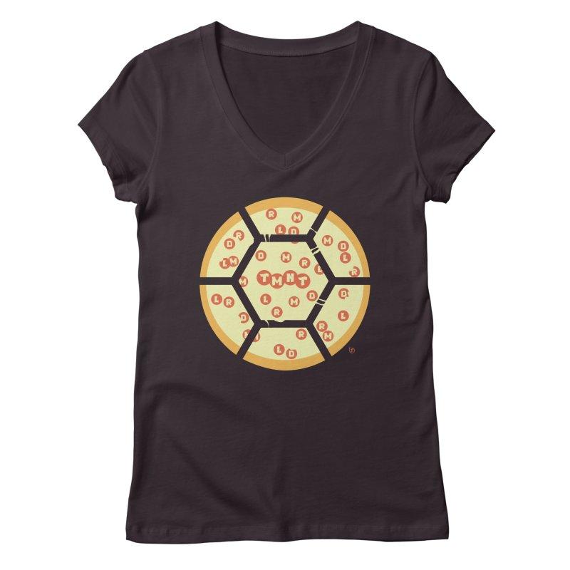 Half Shell Pizza Women's V-Neck by Joel Siegel's Artist Shop