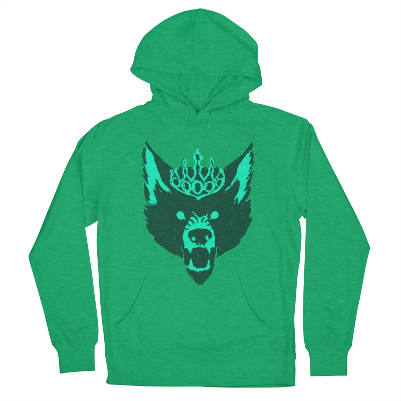 Wolf King Icon Teal Men's French Terry Pullover Hoody by Joe Sutphin's Artist Shop