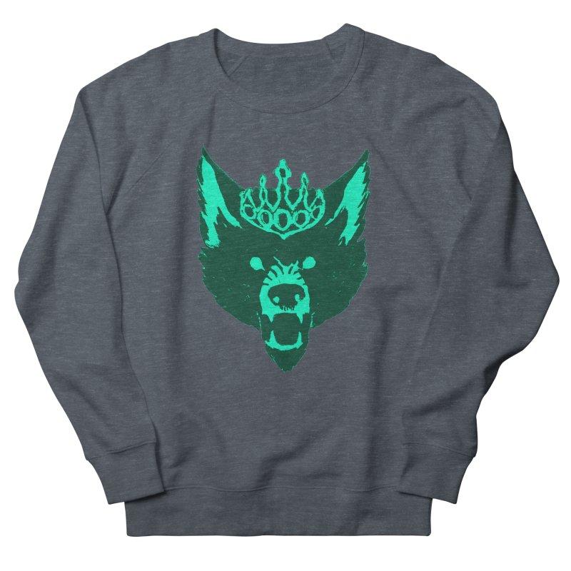 Wolf King Icon Teal Women's French Terry Sweatshirt by Joe Sutphin's Artist Shop