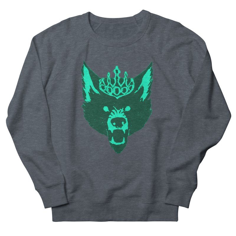 Wolf King Icon Teal Men's French Terry Sweatshirt by Joe Sutphin's Artist Shop