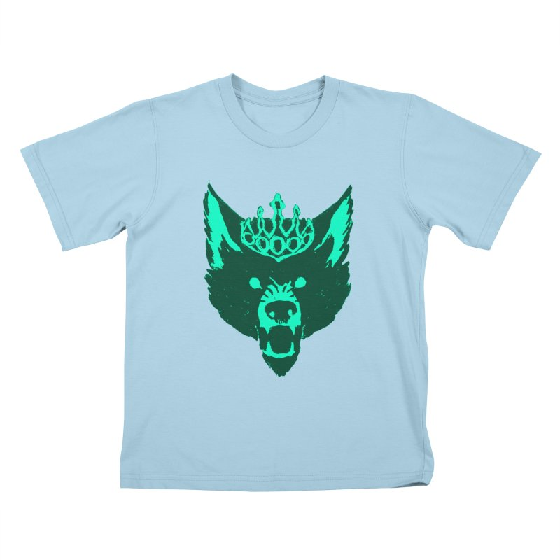 Wolf King Icon Teal Kids T-Shirt by Joe Sutphin's Artist Shop