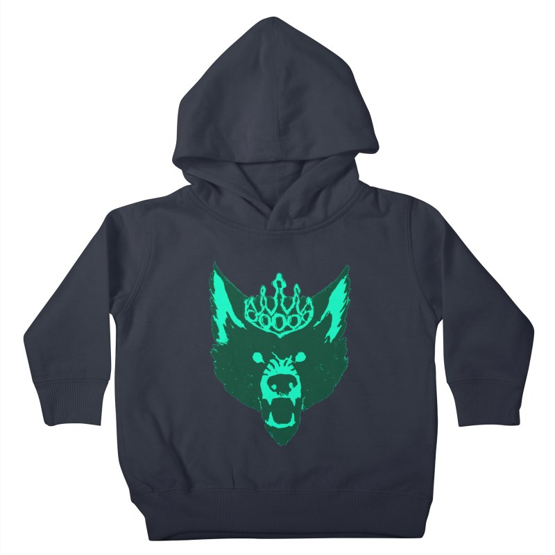 Wolf King Icon Teal Kids Toddler Pullover Hoody by Joe Sutphin's Artist Shop
