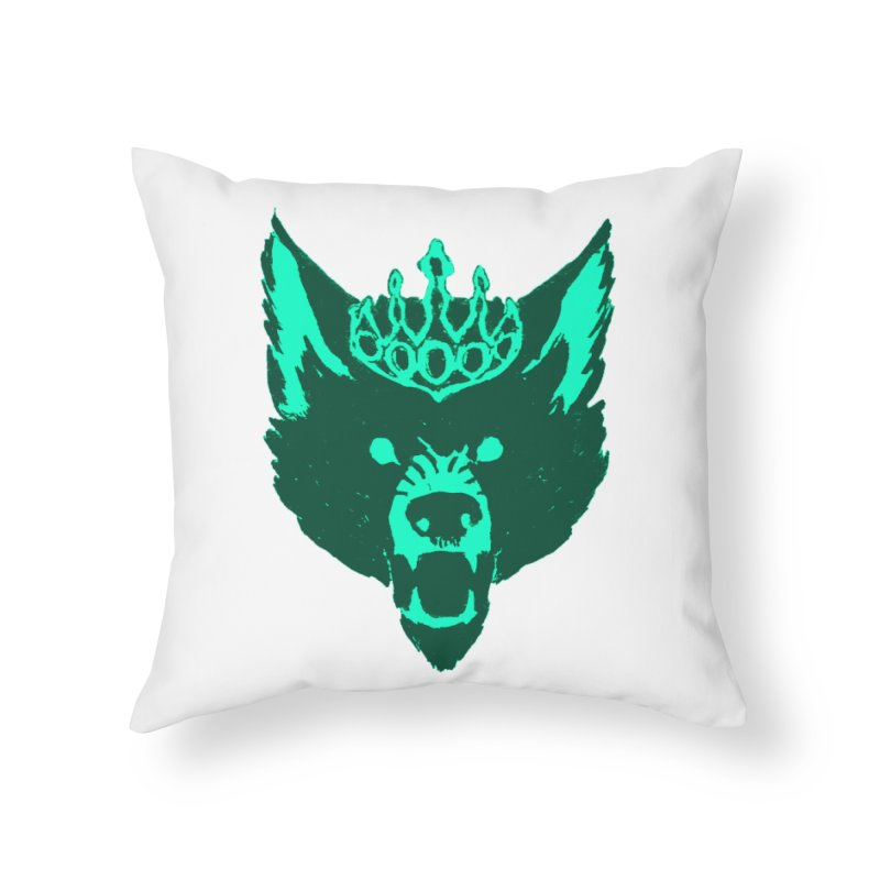 Wolf King Icon Teal Home Throw Pillow by Joe Sutphin's Artist Shop