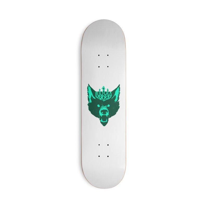 Wolf King Icon Teal Accessories Deck Only Skateboard by Joe Sutphin's Artist Shop