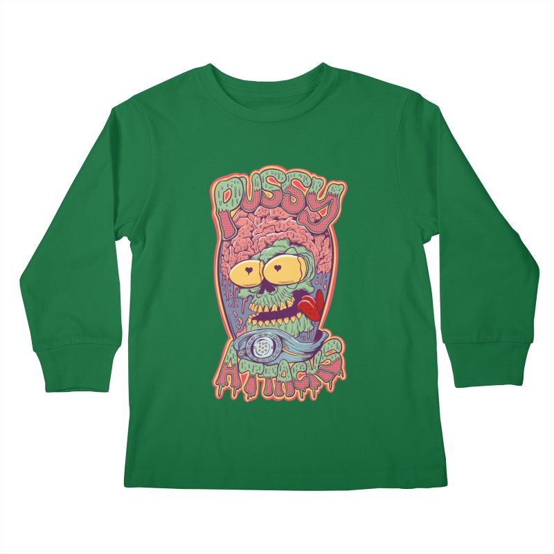 Pussy Attacks! Kids Longsleeve T-Shirt by Joe Tamponi