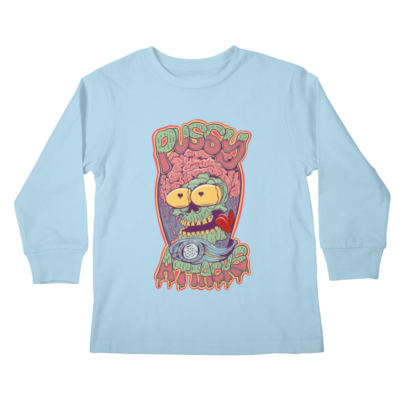 Pussy Attacks! Kids Longsleeve T-Shirt by Joe Tamponi