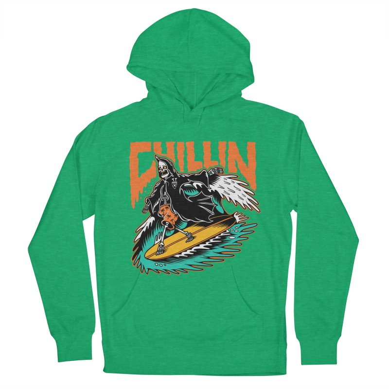Grim Reaper Surfing chilling Women's French Terry Pullover Hoody by Joe Tamponi