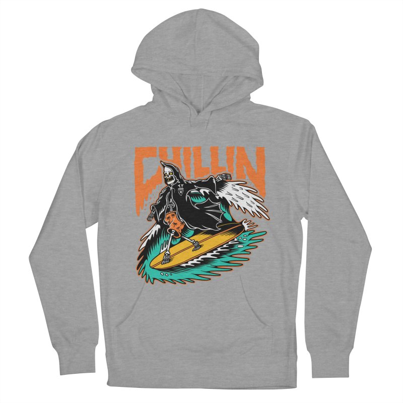 Grim Reaper Surfing chilling Men's French Terry Pullover Hoody by Joe Tamponi