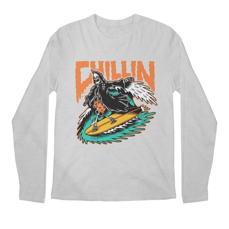Grim Reaper Surfing chilling Men's Regular Longsleeve T-Shirt by Joe Tamponi