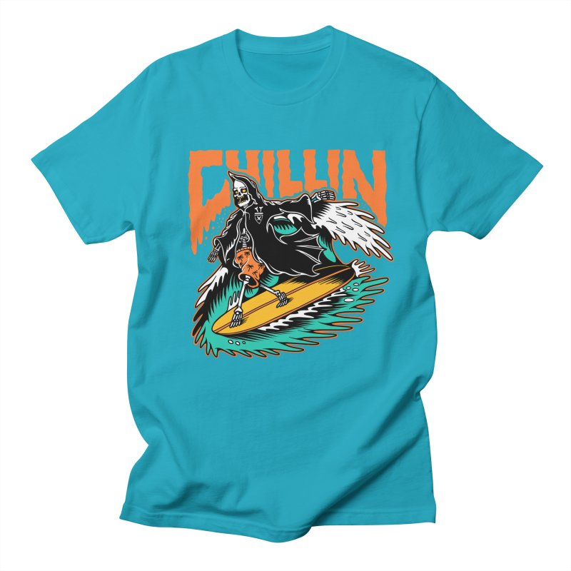 Grim Reaper Surfing chilling Men's Regular T-Shirt by Joe Tamponi