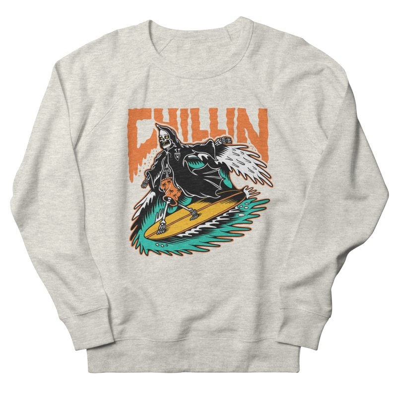 Grim Reaper Surfing chilling Men's French Terry Sweatshirt by Joe Tamponi