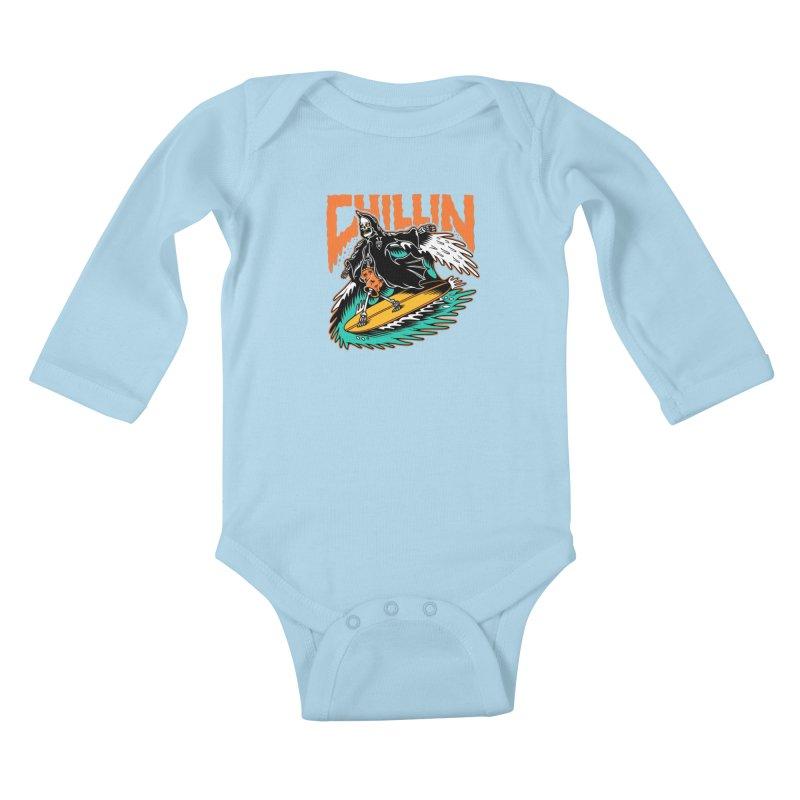 Grim Reaper Surfing chilling Kids Baby Longsleeve Bodysuit by Joe Tamponi