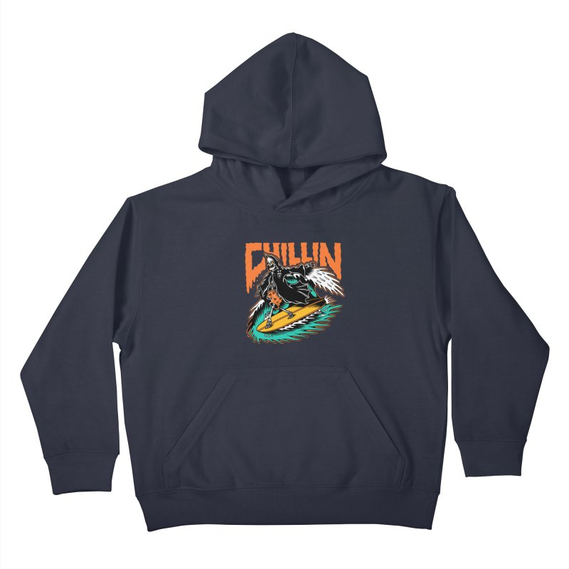 Grim Reaper Surfing chilling Kids Pullover Hoody by Joe Tamponi