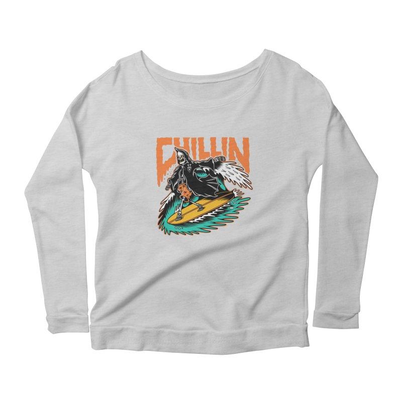 Grim Reaper Surfing chilling Women's Scoop Neck Longsleeve T-Shirt by Joe Tamponi