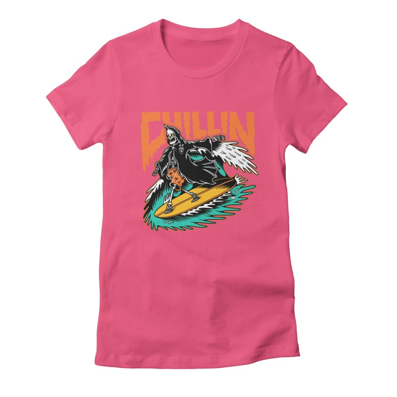 Grim Reaper Surfing chilling Women's Fitted T-Shirt by Joe Tamponi