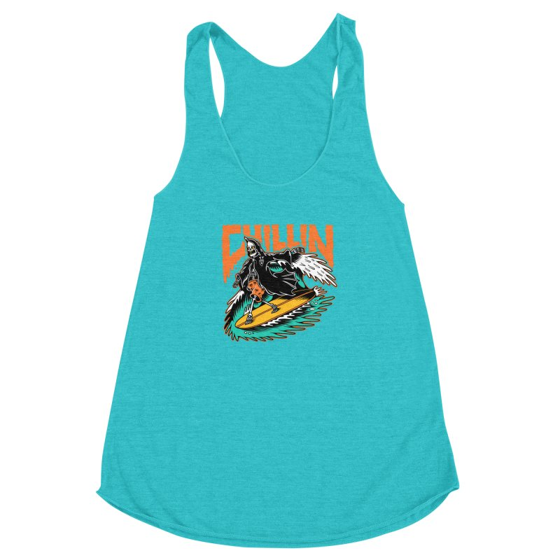 Grim Reaper Surfing chilling Women's Racerback Triblend Tank by Joe Tamponi