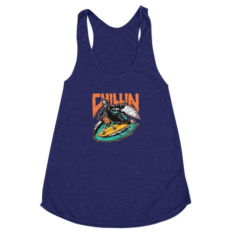 Grim Reaper Surfing chilling Women's Racerback Triblend Tank by Joe Tamponi