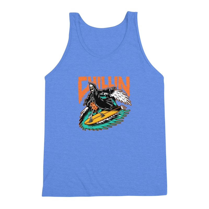 Grim Reaper Surfing chilling Men's Triblend Tank by Joe Tamponi