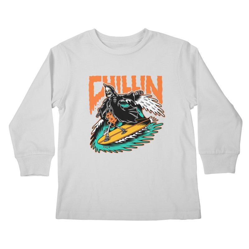 Grim Reaper Surfing chilling Kids Longsleeve T-Shirt by Joe Tamponi