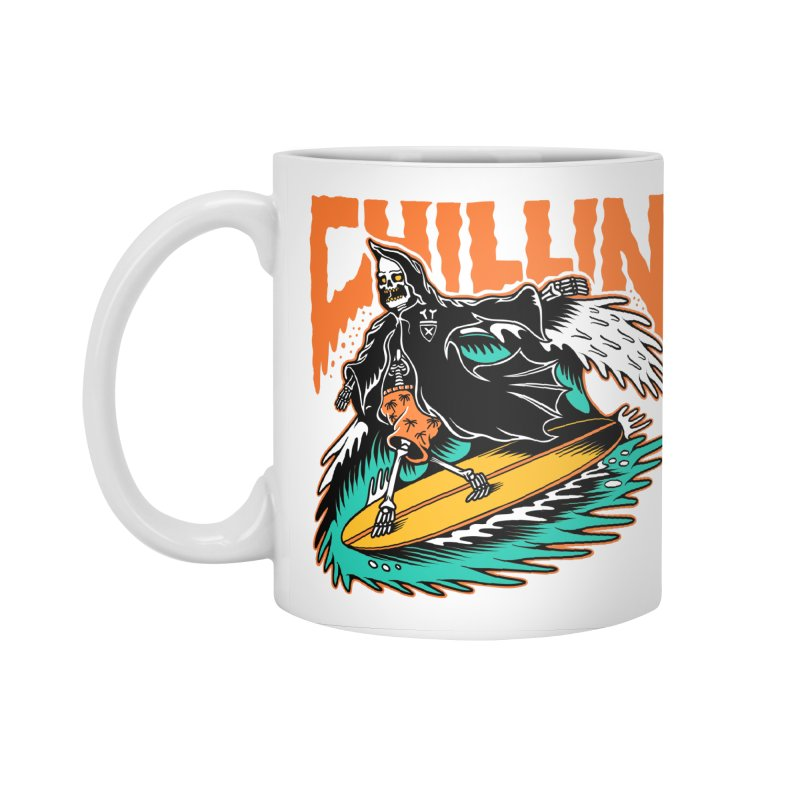 Grim Reaper Surfing chilling Accessories Standard Mug by Joe Tamponi