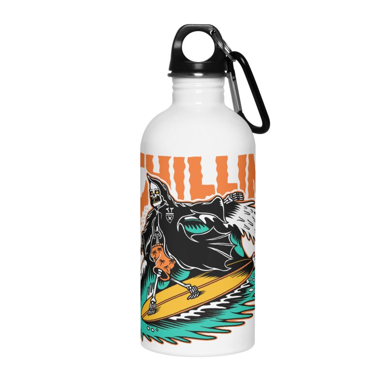 Grim Reaper Surfing chilling Accessories Water Bottle by Joe Tamponi