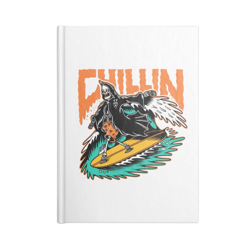 Grim Reaper Surfing chilling Accessories Lined Journal Notebook by Joe Tamponi