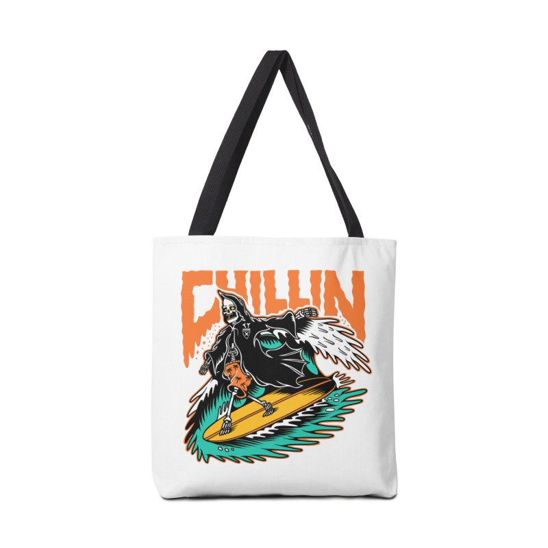 Grim Reaper Surfing chilling Accessories Tote Bag Bag by Joe Tamponi