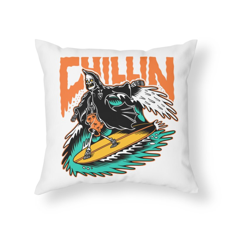 Grim Reaper Surfing chilling Home Throw Pillow by Joe Tamponi