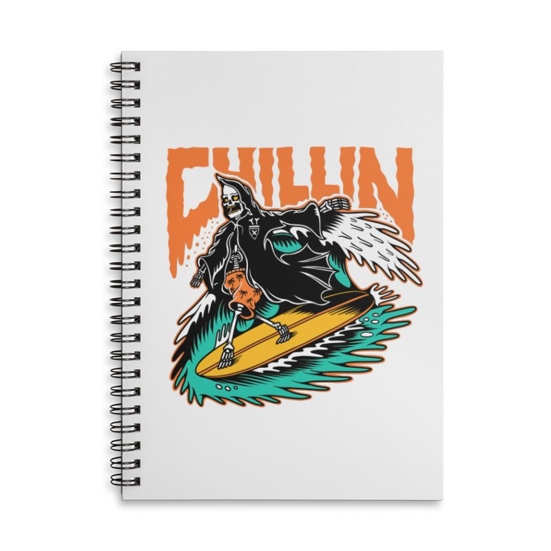 Grim Reaper Surfing chilling Accessories Lined Spiral Notebook by Joe Tamponi