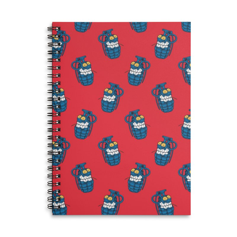 Toothpick Grenade skate deck Accessories Lined Spiral Notebook by Joe Tamponi
