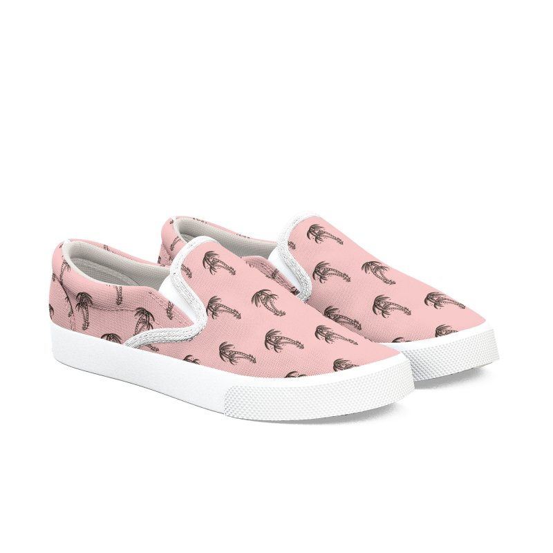 Pink Palm trees Men's Slip-On Shoes by Joe Tamponi
