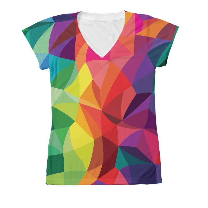 Color shards Women's V-Neck All Over Print by Joe Van Wetering