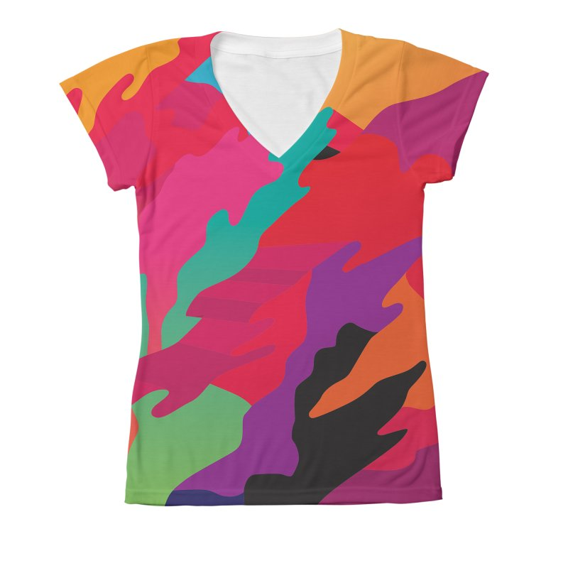 Pop Destruction Women's V-Neck All Over Print by Joe Van Wetering