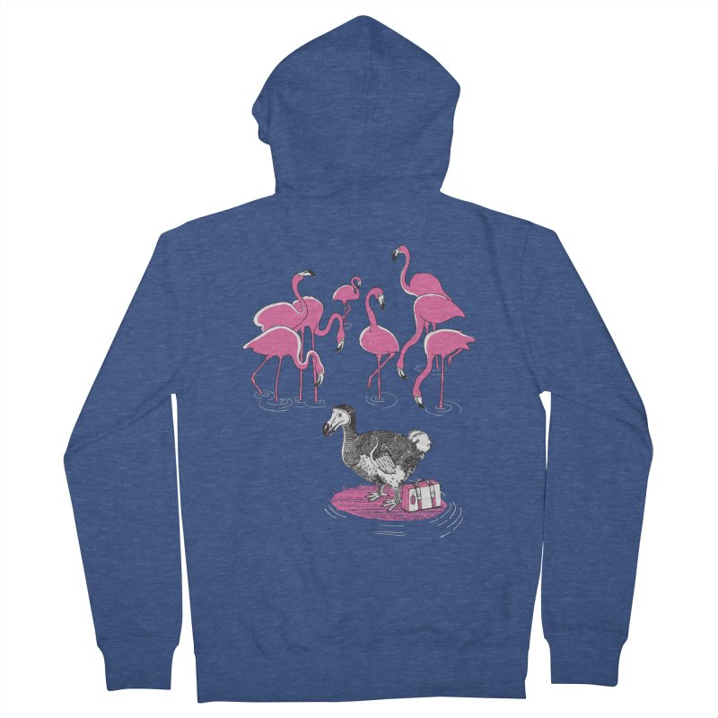 and the Flamingoes Celebrated Men's French Terry Zip-Up Hoody by John D-C's Artist Shop