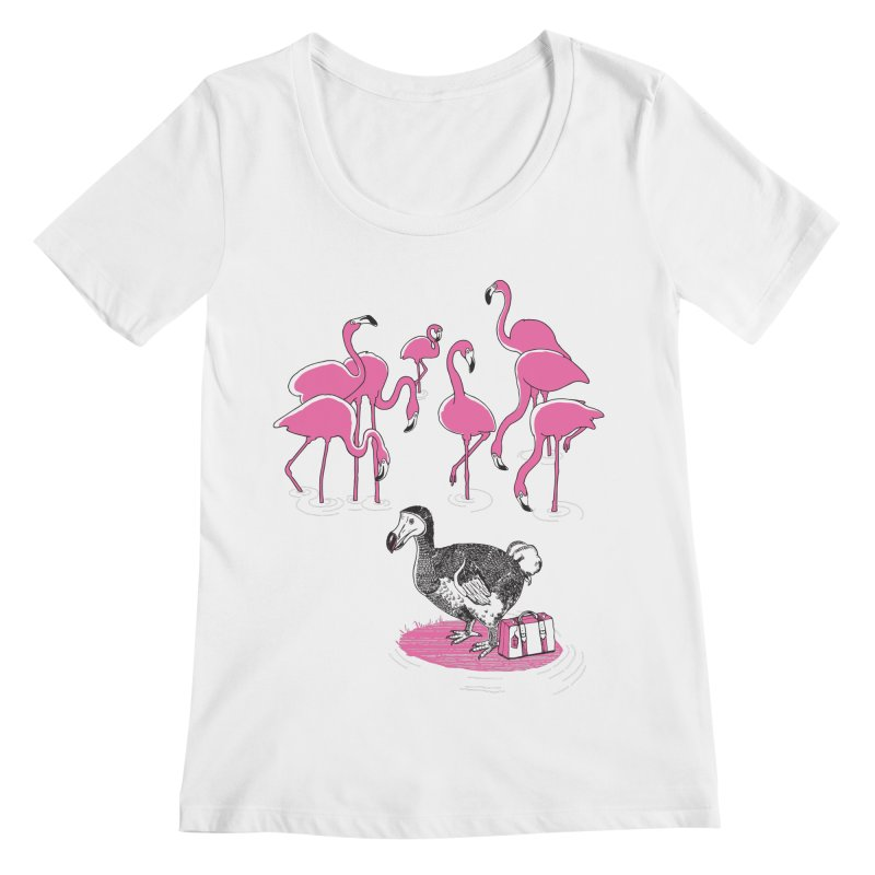and the Flamingoes Celebrated Women's Regular Scoop Neck by John D-C's Artist Shop