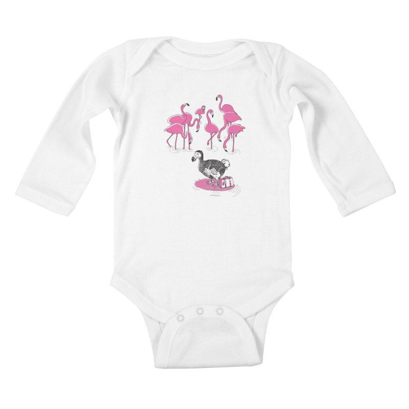 and the Flamingoes Celebrated Kids Baby Longsleeve Bodysuit by John D-C's Artist Shop